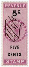 (I.B) Malaya (Straits Settlements) Revenue : Duty Stamp 5c