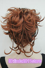 Brown Red bendable wires tiny braid claw clip ponytail hair pieces wig
