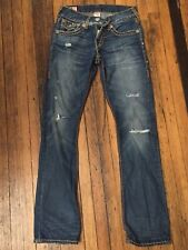 True Religion Ricky Super T 28x32 Distressed Ripped Flaps Stitched BADASS