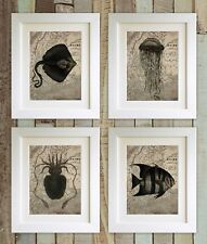 "SET OF 4 Sea Creature Map Prints, 5""x7"" UNFRAMED, Octopus, Bathroom Picture Gift"
