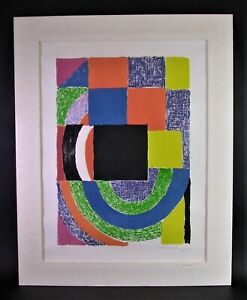 Sonia DELAUNAY-TERK (1885-1979) CARRE NOIR 1969 - Lithographie sign. No.43/100