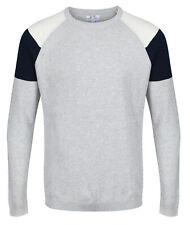 NEXT™ Mens Pure Cotton Crew Neck Jumper New Fine Knit Colour Block Sweater Top
