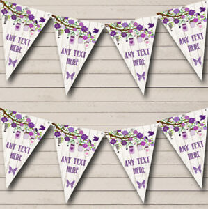 Shabby Chic Vintage Wood Purple Personalized Birthday Party Bunting Flag Banner
