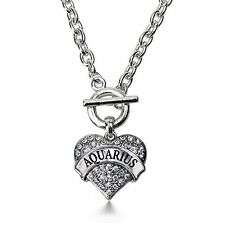 Inspired Silver Aquarius Zodiac Pave Heart Toggle Necklace