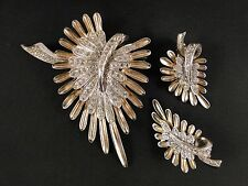 Pennino, Clear Chaton Rhinestone, Gold Vermeil SS Brooch & Earrings