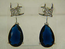 EARRINGS:  LARGE BLUE TANZANITE PEAR WHITE ZIRCON ROUND CUT WHITE GOLD FILLED