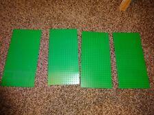 "Lot of 4 Genuine LEGO Thin Base plates dark green 16x32 dot 10""x5"" base plates"