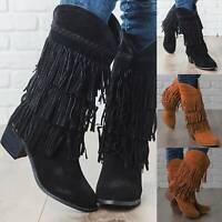 Womens Suede Tassel Fringe Moccasin Boots Flat Low Heels Mid Calf Shoes Size