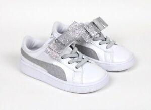 NEW Puma Vikky V2 Ribbon Glitz White Silver Baby Girls Toddler Sneakers Size 8C