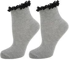 Para Damas/Mujeres De Encaje Con Volantes Calcetines los trazadores de líneas Tobillo Alto Gris-SK187