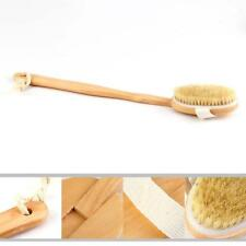 Natural Long Wood Wooden Body Brush Massager Bath Shower Back Spa Scrubber FW
