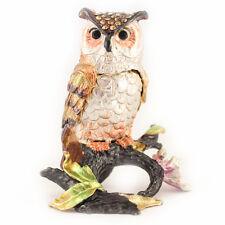 Silver Owl Jewelry Trinket Box Collectible Enamel Bird Decoration Gift 02051