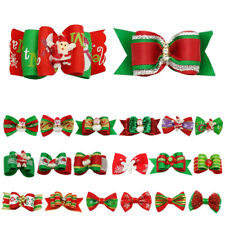 100pcs/Lot Christmas Dog Hair Bows Pet Grooming Accessory Rubber Bands Xmas Gift