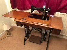 More details for vintage singer sewing machine with treadle table (f8020332) - working!