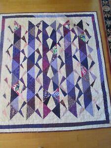 "Handmade Purple and Cream Confetti quilt 61"" X 79 1/2"""