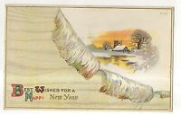 Best Wishes For A Happy New Year Snow Scene Vintage 1914 New Year's Day Postcard
