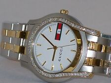 New Men's Two tone Gucci 5500 YA055313  .80ct.apx.custom set real Diamond Watch