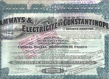 Original Turkey Bond 1921 Tramways Constantinople Deco coupons
