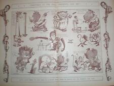 Chrsitmas at the Zoo 1902 cartoon print