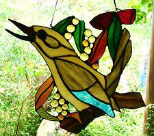 LAUGHING KOOKABURRA & AUSTRALIAN WILDFLOWERS Stained Glass Leadlight Suncatcher