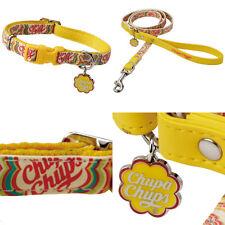"Chupa Chups Pet Dog Puppy Collar & Leash Set, Yellow, Size M (15mm/0.60"")"
