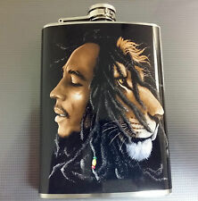 BOB MARLEY STAINLESS STEEL 8 oz FLASK REGGAE RASTA LIONS HEAD DREADS