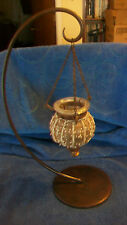METAL TEA LIGHT CANDLE HOLDER WITH HANGING DECORATIVE GLASS GLOBE