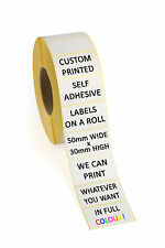 FULL COLOUR Self Adhesive Labels Stickers - 50mm x 30mm - 250 Labels on a Roll