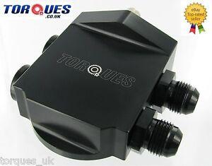 Torques Remote Billet Aluminium Oil Filter Housing- BLACK (AN-10 JIC-10) 3/4 UNF