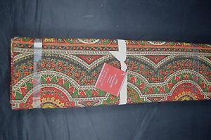"""POTTERY BARN EMIRA PAISLEY TABLE RUNNER 18 X 108"""" RED CLOTH #11"""