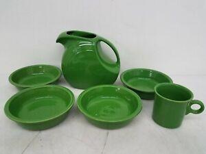 6 Piece Fiesta Dishware Green Ceramic Bowls, Pitcher, and Mug DR