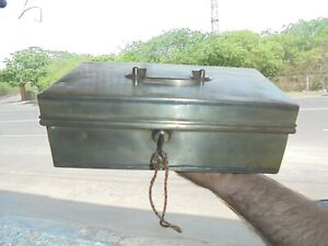 Old White Metal Big Handcrafted Fine Quality Cash/Safe Box , Collectible