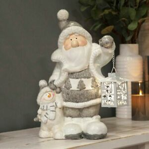 Large White Grey Snowman & Santa LED Light up Lantern Ornament
