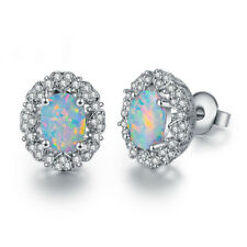 Gorgeous Wedding Jewelry Natural White Topaz Fire Opal Gems Silver Stud Earrings