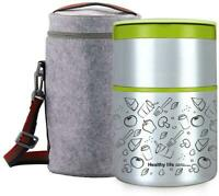 32OZ Vacuum Insulated Stackable Stainless Steel Thermal Lunch Box 2 Tier With In
