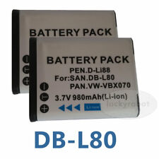 2XDigital Camera Battery for Sanyo DB-L80 DBL80 Pentax D-L188 Optio P70 P80
