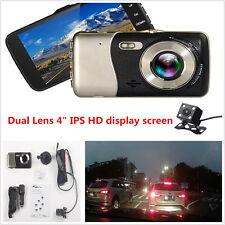"New 4"" IPS HD Car 1080P DVR Dual Lens Camera Dash Recorder G-Sensor Night Vision"