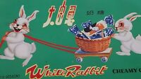 """Vintage 1960s White Rabbit Creamy Candy Tin Candy Box 10.75"""" X 6"""" Easter"""