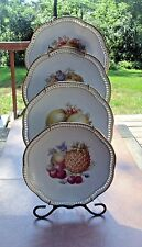 Set of 4 Gorgeous Schumann Porcelain Reticulated Plates - Fruit - Pierced