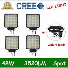 2X 48W 12V 24V LED Work Light Spot Light OffRoad ATV Boat Jeep Truck+Wiring Kit