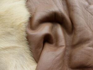 sheepskin leather hide Crème Brûlée Long Silky Hair Toscana w/Brown Smooth back