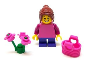 LEGO Mini Female Girl Minifigure (Pink Top) with Flowers and Basket  NEW