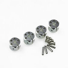 Aluminum 12mm HEX Wheel hub 10mm Thickness Silver 4pc for RC Crawler SCX10