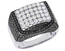 Men's 14K White Gold Real Diamond Black Iced Pinky Engagement Ring 3 7/8 Ct 17MM
