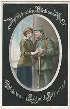 German WW1 Postcard - Soldier, Pickelhaube, Uniform, Stay Faithfull...30.01.1916