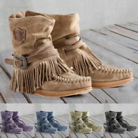 Retro Winter Women's Casual Fashion Round Flat Toe New Tassel Suede Ankle Boots