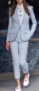 Women's Chanel 19C Blue La Pausa Fantasy Tweed Crop Pants Jacket Suit Size 34