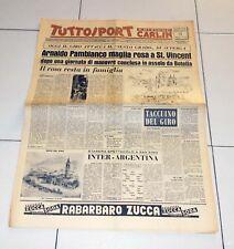 Tuttosport 21 maggio 1958 GIRO D'ITALIA Arnaldo Pambianco St Vincent maglia rosa