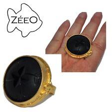 ZéeO bijoux Gross Original Ring Color Gold Matt Glass Black Chiseled T Ajustable