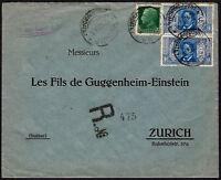 1932 - Raccomandata per la Svizzera resa franca con Dante coppia Lire 1,25 n.310